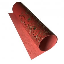 Piece of PU leather with gold stamping Golden Pion Red