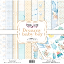 "Double-sided scrapbooking paper set ""Dreamy Baby Boy"", 8""x8"""