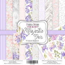 "Double-sided scrapbooking paper set ""Majestic Iris"", 8""x 8"", Fabrika Decoru"