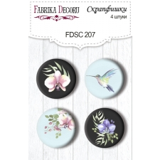 "Flair buttons. Set of 4pcs #207 ""Wild Orchid"""