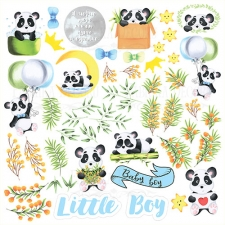"""Лист с картинками для вырезания """"My Little Panda Boy"""""""