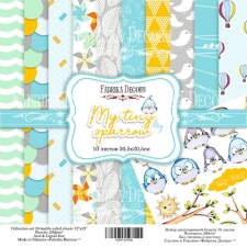 "Double-sided scrapbooking paper set ""My Tiny Sparrow Boy"", 12""x12"""