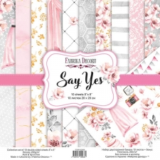 "Double-sided scrapbooking paper set ""Say Yes"", 8""x8"", Fabrika Decoru"