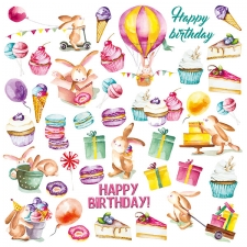"Decorative sheet for cutting ""Sweet Birthday"""