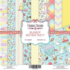 "One-sided scrapbooking paper set ""Bunny Birthday Party"", 12""x 12"" , Fabrika Decoru"