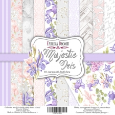 "Double-sided scrapbooking paper set ""Majestic Iris"", 12""x 12"" , Fabrika Decoru"