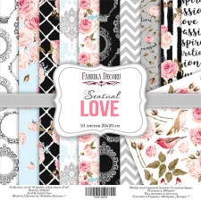 "Double-sided scrapbooking paper set  ""Sensual Love"", 8""x 8"" , Fabrika Decoru"