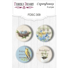 "Flair buttons. Set of 4pcs #309 ""Botany Spring"""