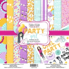 "Double-sided scrapbooking paper set ""Party girl"", 12""x 12"" , Fabrika Decoru"