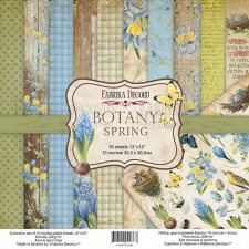 "Double-sided scrapbooking paper set ""Botany spring"", 12""x 12"" , Fabrika Decoru"
