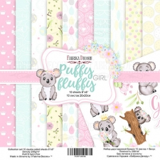 "Double-sided scrapbooking paper set ""Puffy Fluffy Girl"", 8""x 8"" , Fabrika Decoru"