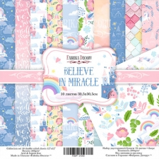 "Double-sided scrapbooking paper set ""Believe in miracle"", 12""x 12"" , Fabrika Decoru"