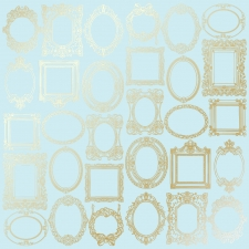 "Sheet of single-sided paper embossed by golden foil ""Golden Frames Blue"""