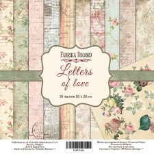 "Double-sided scrapbooking paper set ""Letters of love"", 8""x8"", Fabrika Decoru"