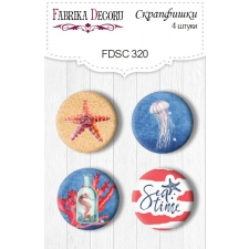 "Flair buttons.  Set of 4pcs #320 ""Sea Soul"""