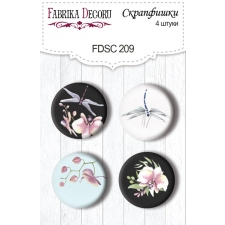 "Flair buttons. Set of 4pcs #209 ""Wild Orchid"""