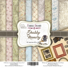 "Double-sided scrapbooking paper set ""Shabby Memory"", 8""x 8"", Fabrika Decoru"