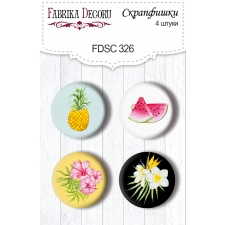 "Flair buttons.  Set of 4pcs #326 ""Wild Tropics"""