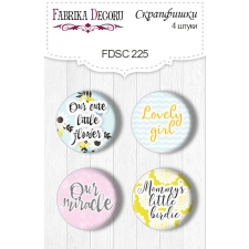 "Flair buttons. Set of 4pcs #225 ""My Tiny Sparrow Girl"""