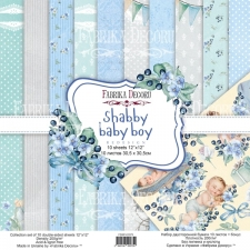 "Double-sided scrapbooking paper set ""Shabby Baby Boy"", 12""x12"""