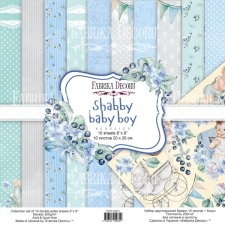 "Double-sided scrapbooking paper set ""Shabby Baby Boy"", 8""x8"""