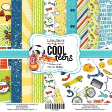 "Double-sided scrapbooking paper set ""Cool Teens"", 8""x 8"" , Fabrika Decoru"