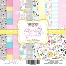 "Double-sided scrapbooking paper set ""My tiny sparrow girl"", 12""x 12"" , Fabrika Decoru"