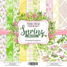 "Double-sided scrapbooking paper set ""Spring blossom"", 12""x 12"" , Fabrika Decoru"