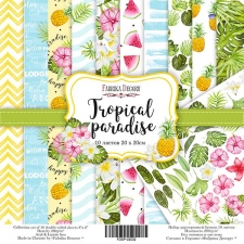 "Double-sided scrapbooking paper set  ""Tropical paradise"", 8""x 8"" , Fabrika Decoru"