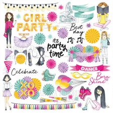 "Sheet of images for cutting. Collection ""Party girl"""