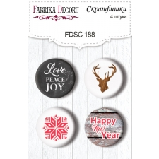 "Flair buttons. Set of 4pcs #188 ""Christmas Fairytales"""