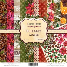 "Double-sided scrapbooking paper set ""Botany Winter"", 8""x8"", Fabrika Decoru"