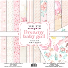 "Double-sided scrapbooking paper set ""Dreamy Baby Girl"", 8""x8"""