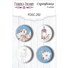 "Flair buttons. Set of 4pcs #292 ""Winter Love Story"""