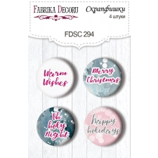 "Flair buttons. Set of 4pcs #294 ""Winter Love Story"""