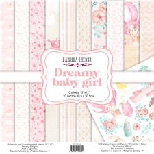 "Double-sided scrapbooking paper set ""Dreamy Baby Girl"", 12""x12"""