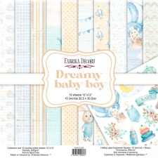 "Double-sided scrapbooking paper set ""Dreamy Baby Boy"", 12""x 12"""