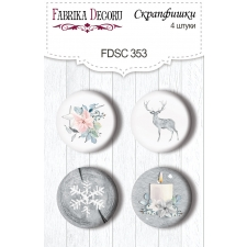"Flair buttons. Set of 4pcs #353 ""Winter Melody"""
