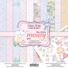 "Double-sided scrapbooking paper set ""My Little Mousy Girl"", 12""x 12"", Fabrika Decoru"