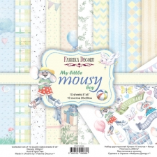 "Double-sided scrapbooking paper set ""My Little Mousy Boy"", 8""x 8"", Fabrika Decoru"
