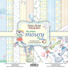 "Double-sided scrapbooking paper set ""My Little Mousy Boy"", 12""x 12"", Fabrika Decoru"
