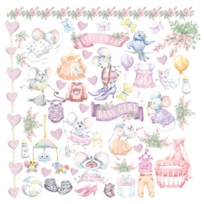 "Decorative sheet for cutting ""My Little Mousy Girl"""