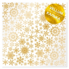 "Gold foiled vellum sheet ""Golden Snowflakes"""
