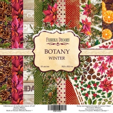 "Double-sided scrapbooking paper set ""Botany Winter"", 12""x12"", Fabrika Decoru"