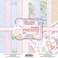 "Double-sided scrapbooking paper set ""My Little Mousy Girl"", 8""x 8"", Fabrika Decoru"