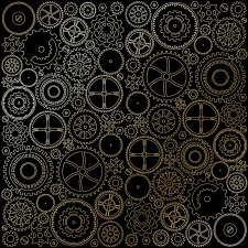 "Sheet of single-sided paper embossed by golden foil ""Golden Gears Black"""