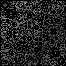 "Sheet of single-sided paper embossed by silver foil ""Silver Gears Black"""