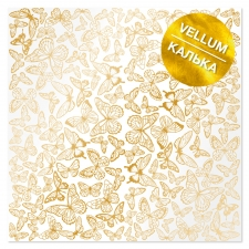 "Gold foiled vellum sheet ""Golden Butterflies"""